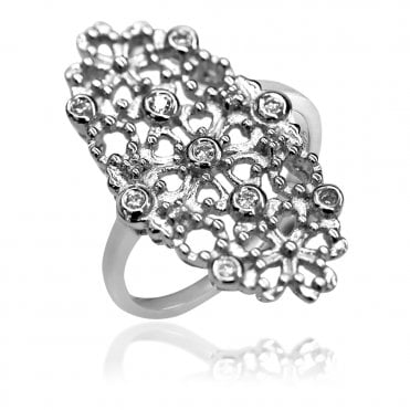 Lace Silver Oval Filigree Ring, 56