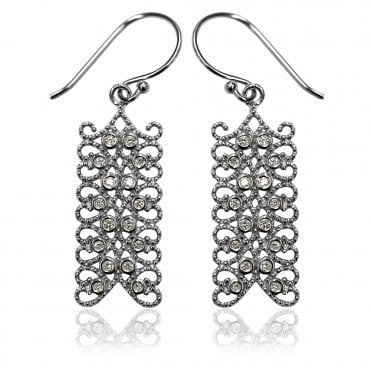 Lace Silver Rectangle CZ Paisley Earrings
