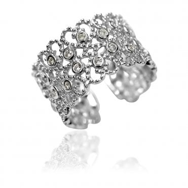 Lace Silver Rectangle CZ Paisley Ring, 51