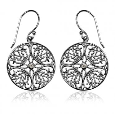 Lace Silver Round Arabesque Earrings