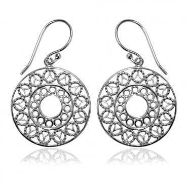 Lace Silver Round Doily Earrings