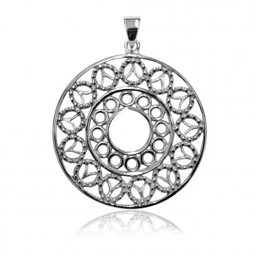 Lace Silver Round Doily Pendant Necklace