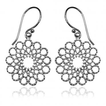 Lace Silver Round Earrings