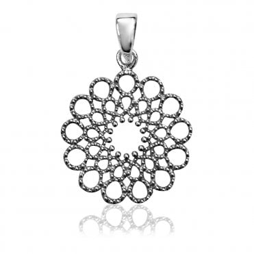 Lace Silver Round Pendant Necklace
