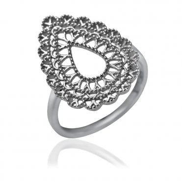 Lace Silver Teardrop Doily Ring, 56