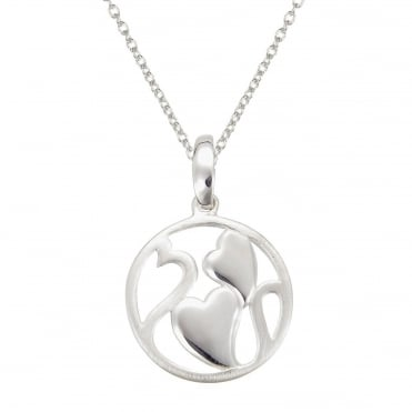 Silver Double Hearts Pendant Necklace