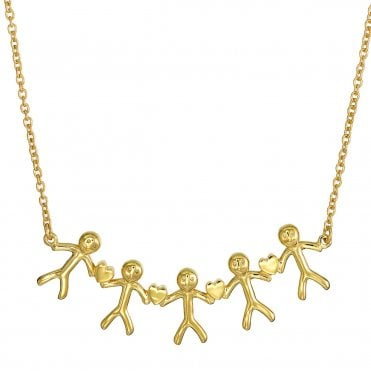 Shiny Happy People - Family of Five Gold Necklace
