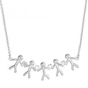 Shiny Happy People - Family of Five Silver Necklace