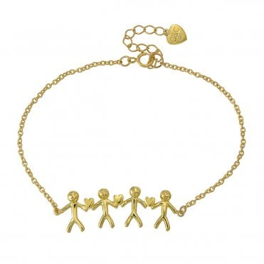 Shiny Happy People - Family of Four Gold Bracelet