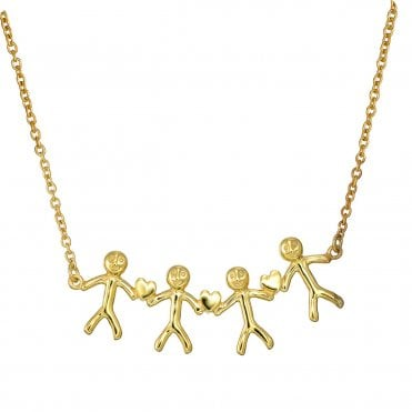 Shiny Happy People - Family of Four Gold Necklace