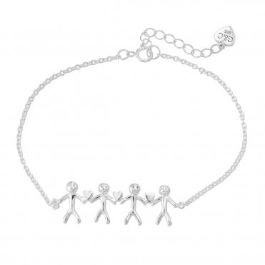 Shiny Happy People - Family of Four Silver Bracelet