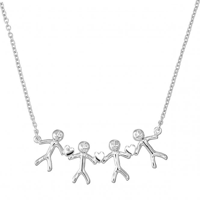 Grace & Co Shiny Happy People - Family of Four Silver Necklace