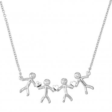 Shiny Happy People - Family of Four Silver Necklace