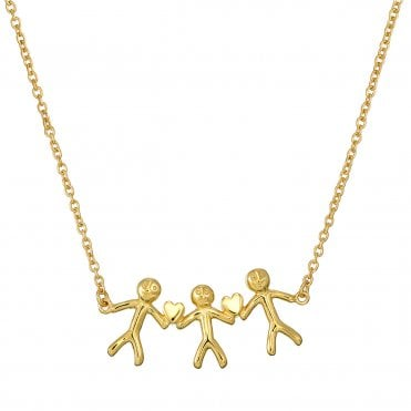 Shiny Happy People - Family of Three Gold Necklace