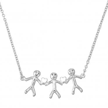 Shiny Happy People - Family of Three Silver Necklace