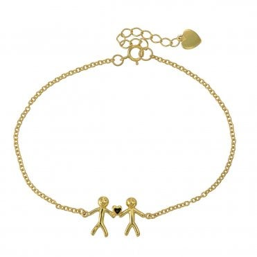 Shiny Happy People - Family of Two Gold Bracelet
