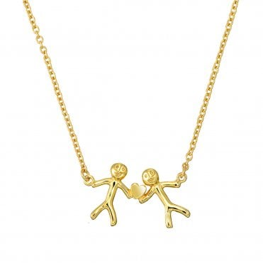 Shiny Happy People - Family of Two Gold Necklace