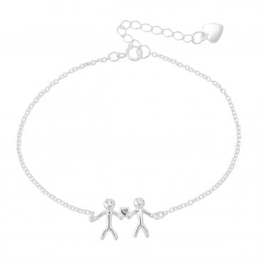 Shiny Happy People - Family of Two Silver Bracelet