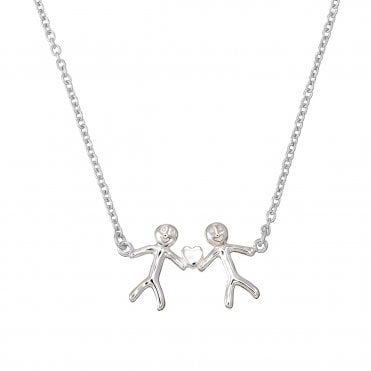 Shiny Happy People - Family of Two Silver Necklace