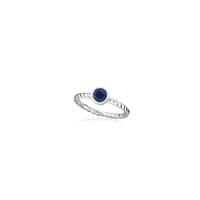 Grace & Co Silver and Blue Sapphire September Birthstone Ring, Size P
