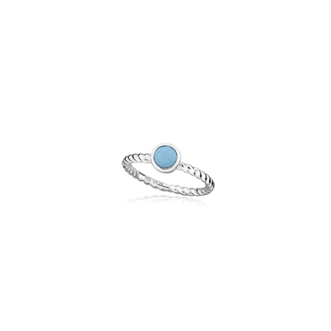 Grace & Co Silver and Blue Turquoise December Birthstone Ring, Size P