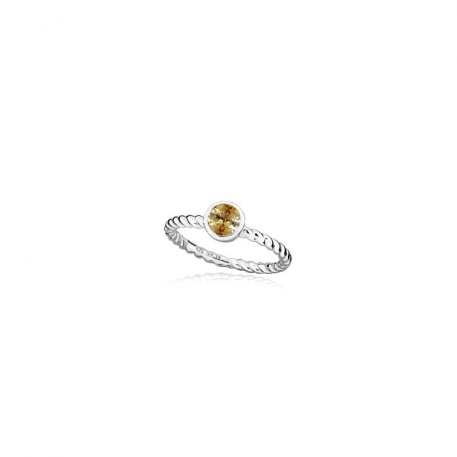 Grace & Co Silver and Champagne November Birthstone Ring, Size Q