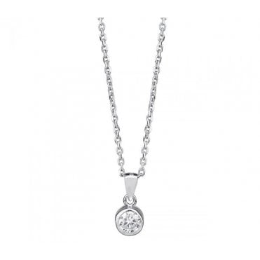 Silver and CZ 5mm Rubover Set Pendant Necklace