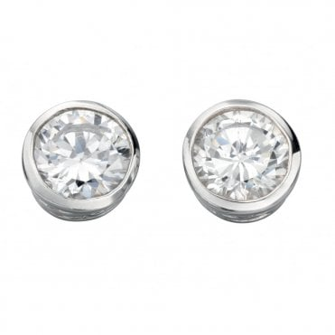 Silver and CZ 7mm Rubover Set Stud Earrings