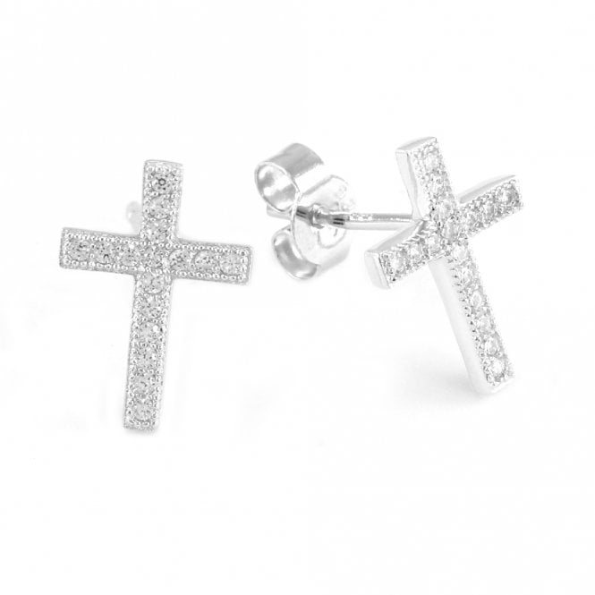 Grace & Co Silver and CZ Cross Stud Earrings