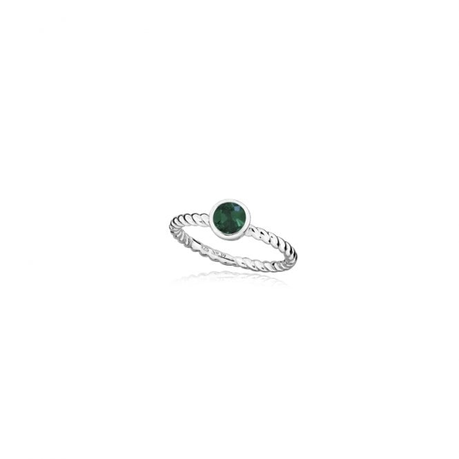 Grace & Co Silver and Emerald Green May Birthstone Ring, Size P