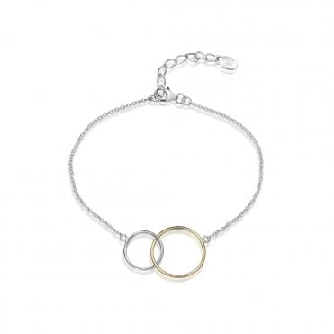 Silver and Gold Interlocking Circles Bracelet