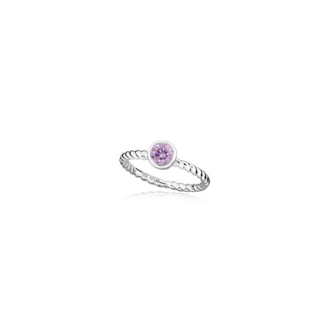 Grace & Co Silver and Pink October Birthstone Ring, Size P