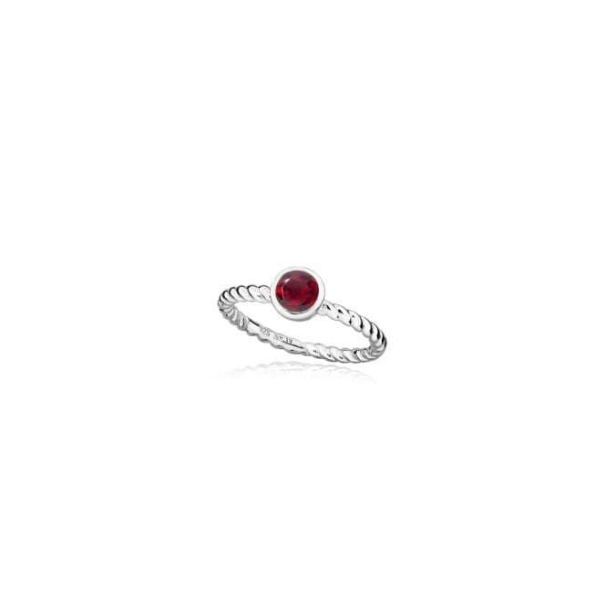 Grace & Co Silver and Red Garnet January Birthstone Ring, Size Q