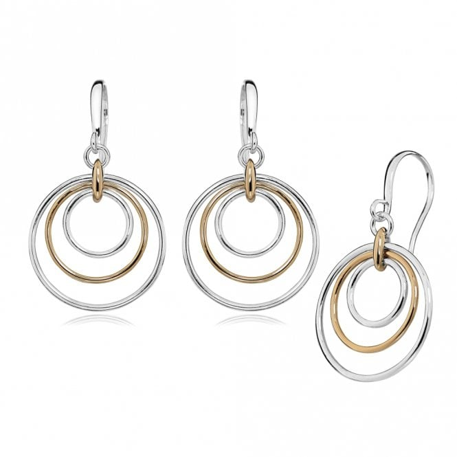 Grace & Co Silver and Rose Gold Drop Earrings with Concentric Circles