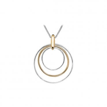 Silver and Rose Gold Necklace with Concentric Circle Pendant