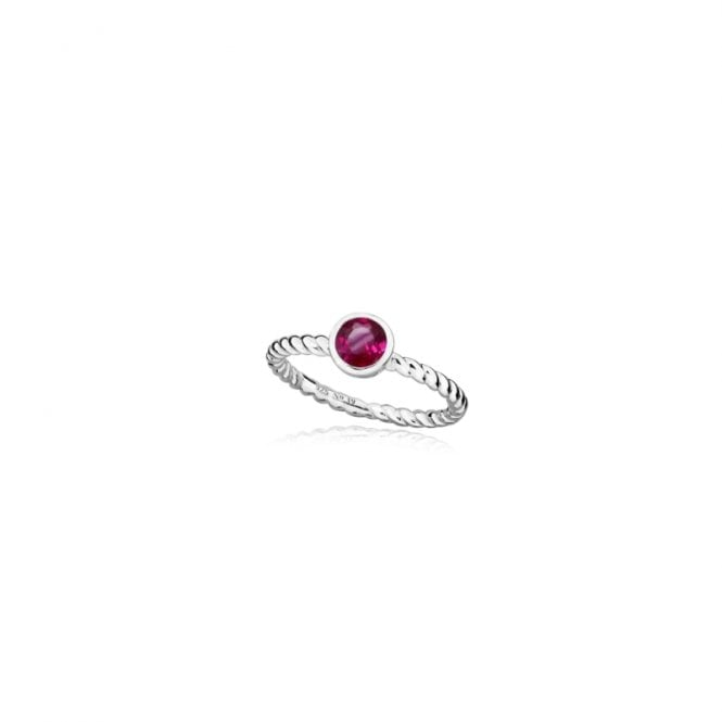 Grace & Co Silver and Ruby Red July Birthstone Ring, Size N