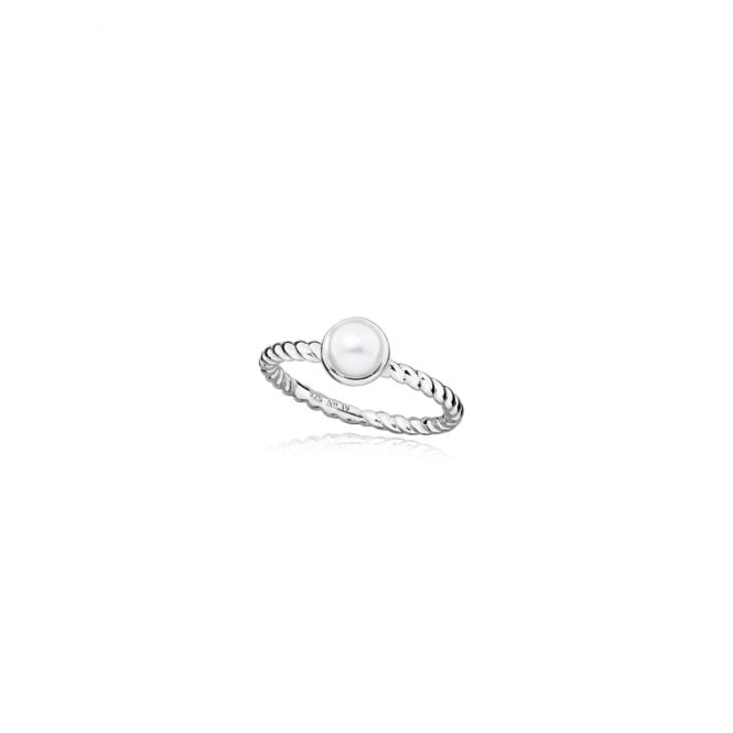 Grace & Co Silver and White Pearl June Birthstone Ring, Size L