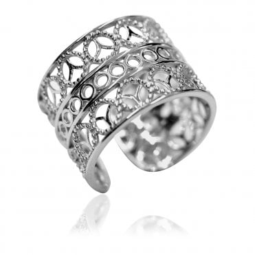 Silver Chunky Filigree Lace Ring Size  53 / N