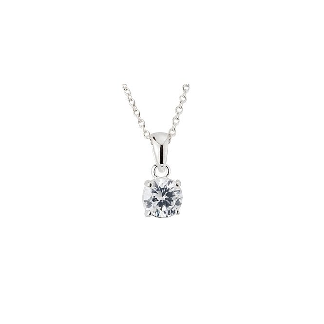 Grace & Co Silver & CZ 6mm Claw Set Pendant Necklace