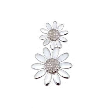 Silver Double Daisy Pendant Necklace