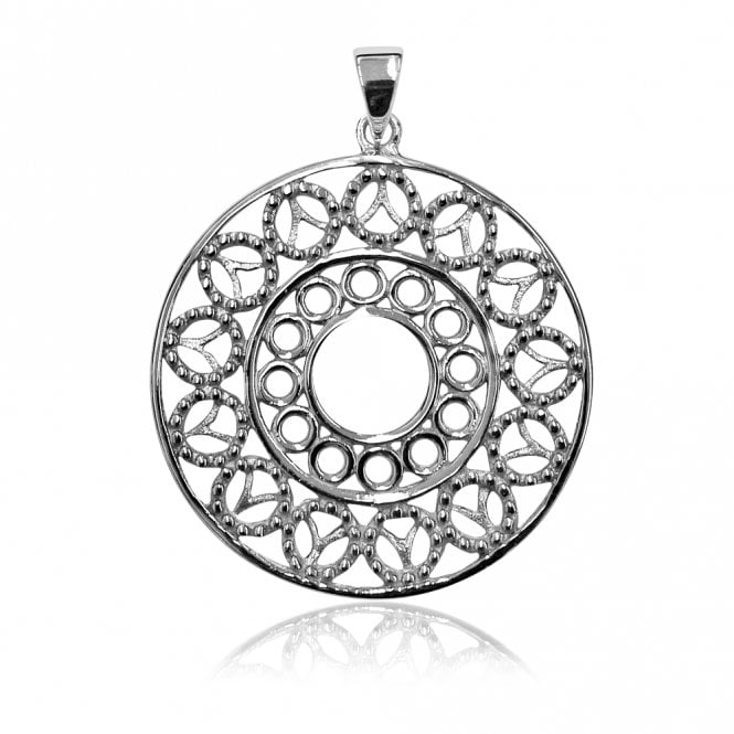 Grace & Co Silver Filigree Lace Circles Pendant Necklace