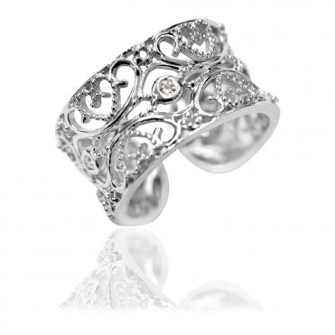 Silver Filigree Lace Hearts Ring Size  53 / N