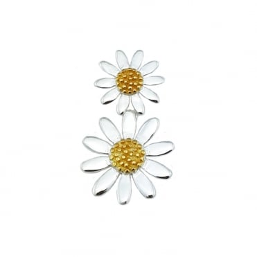 Silver & Gold Double Daisy Pendant Necklace