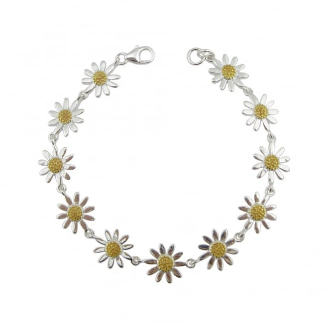 Grace & Co Silver & Yellow Gold Daisy Chain Bracelet, 17cm