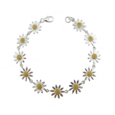 Silver & Yellow Gold Daisy Chain Bracelet, 17cm