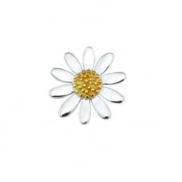 Silver & Yellow Gold Daisy Pendant Necklace