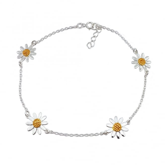 Grace & Co Silver & Yellow Gold Four Daisies Bracelet