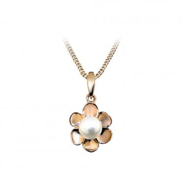 Rose Gold & Pearl Flower Necklace