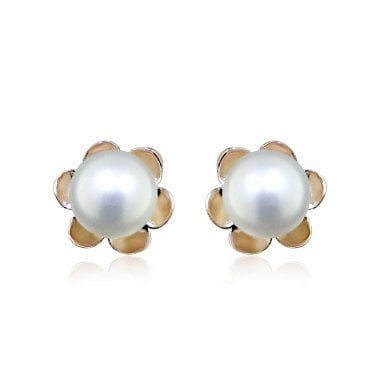 Rose Gold & Pearl Flower Stud Earrings