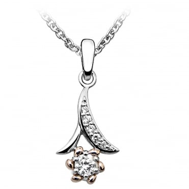 Rose Gold, Silver & CZ Flower Pendant Necklace